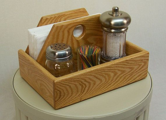 Compact Kitchen Organizer, Salt and Pepper Caddy, Napkin storage, Oak Wood