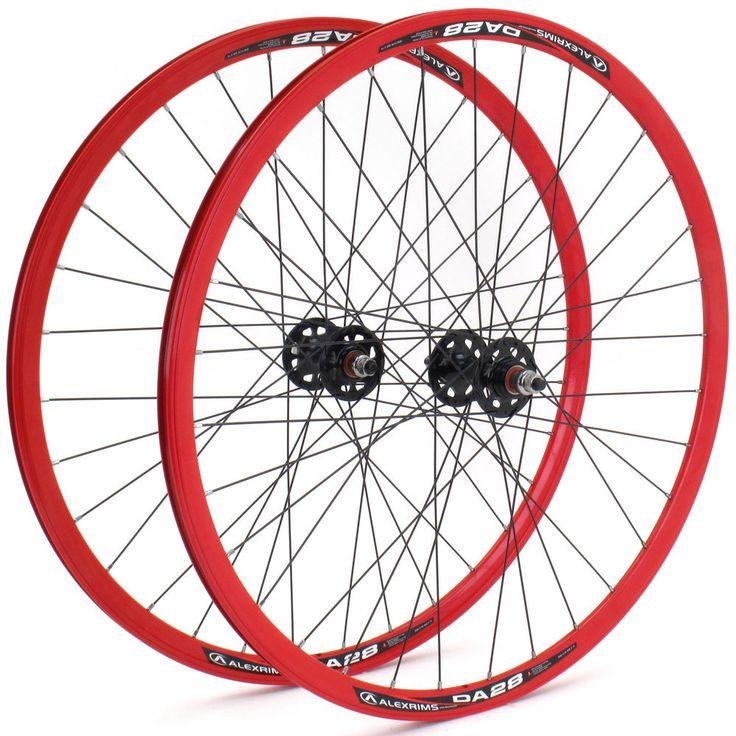 Alex DA28 Fixed Gear Single Speed Flip/Flop Wheelset // Red NMSW in Wheels & Wheelsets | eBay