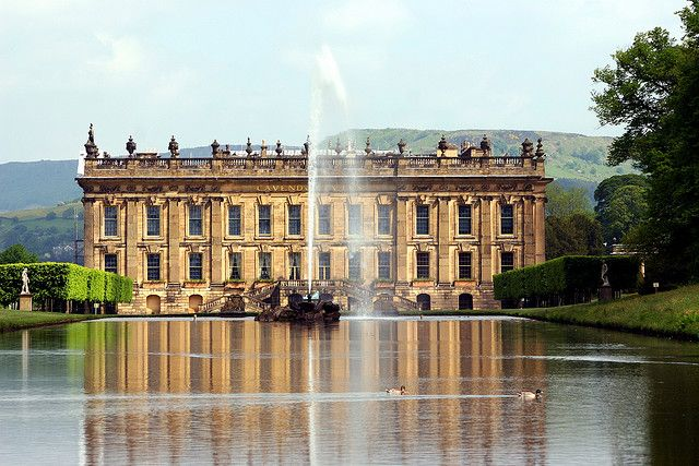 Chatsworth House, home of the Duke and Duchess of Devonshire, located in the Peak District National Park, Derbyshire, England.
