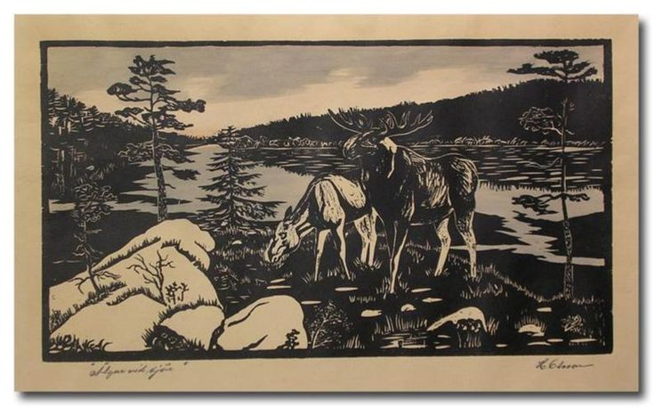 ✨  H. Olsson - Älgar vid sjön - Träsnitt signerat med måtten 33 x 55 cm ::: Moose at the lake - Woodcut