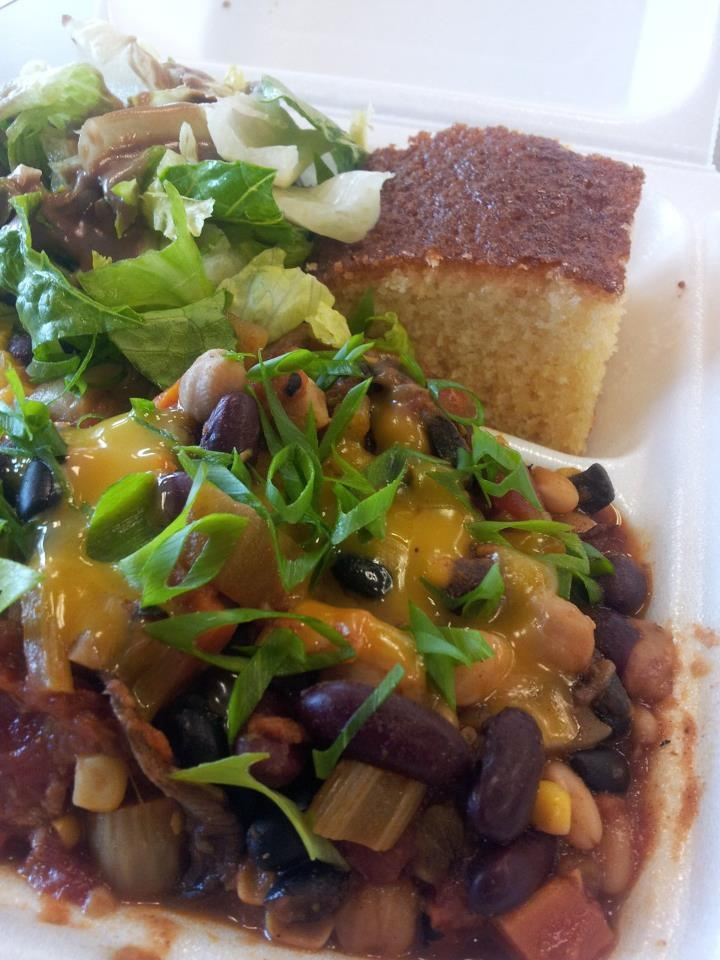 ... Hearty vegetarian chili with honey butter cornbread by Chef Maka Kwon