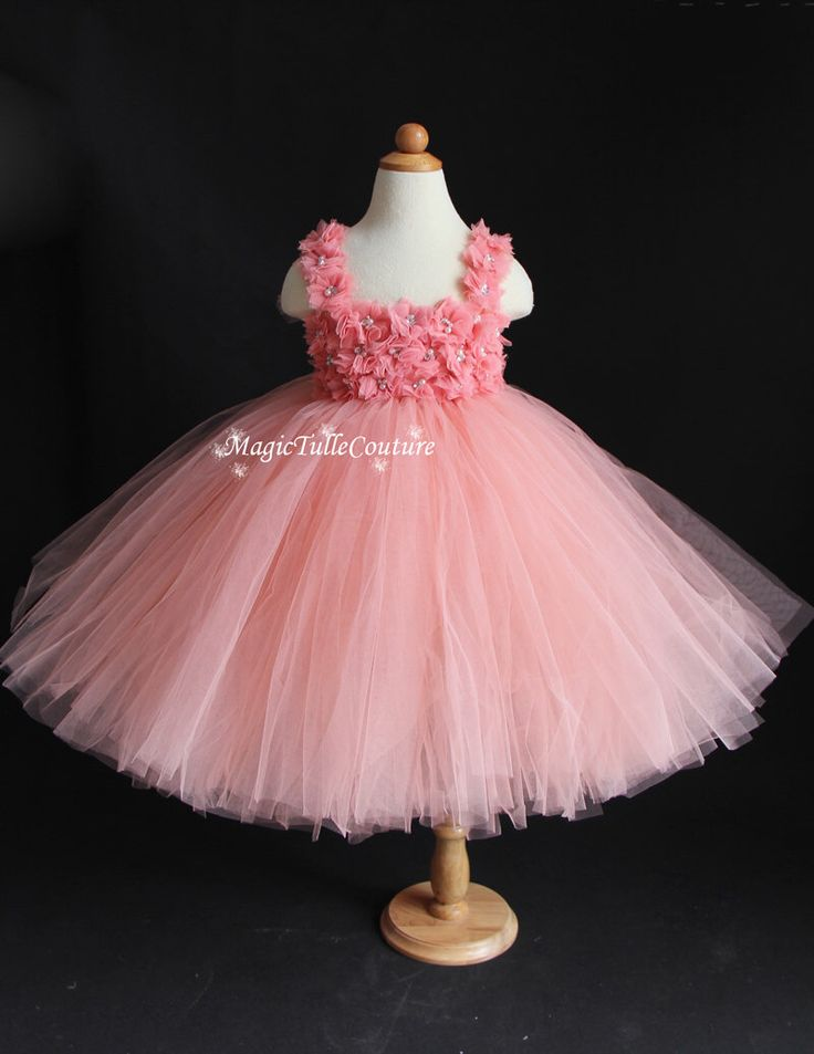 Peach Pink and Coral Flower Girl Tutu Dress Birthday parties dress Easter dress Occasion dress by MagicTulleCouture on Etsy https://www.etsy.com/listing/219930740/peach-pink-and-coral-flower-girl-tutu