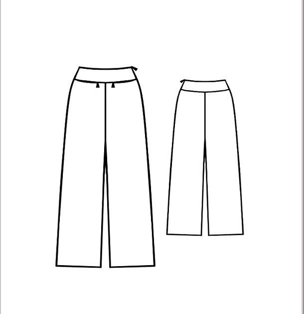Free sewing pattern Wide leg pants. French Pantalon à large ceinture patron gratuit jusqu'au 50