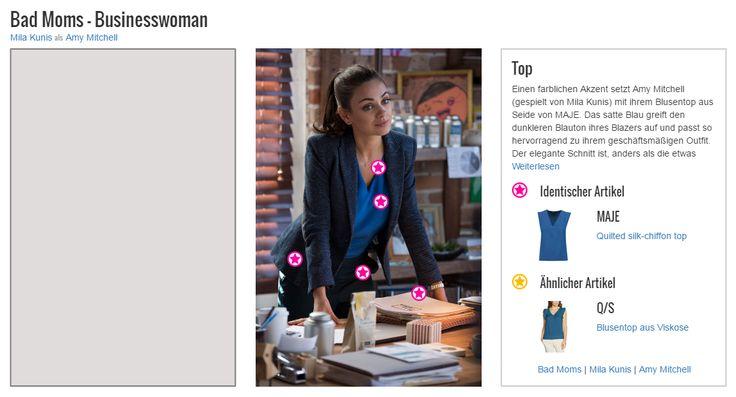 Einen farblichen Akzent setzt Amy Mitchell (gespielt von Mila Kunis) mit ihrem Blusentop aus Seide von MAJE. Das satte Blau greift den dunkleren Blauton ihres Blazers auf und passt so hervorragend zu ihrem geschäftsmäßigen Outfit. Der elegante Schnitt ist, anders als die etwas überstehenden Ärmel des Tops, auch unter dem Jackett der jungen Mutter zu sehen und gibt ihrem Look die nötige Förmlichkeit, um ihn im Büro zu tragen. Aber auch verspielte Elemente finden sich in diesem eigentlich…