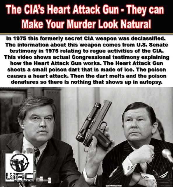 In 1975, during the Church Committee hearings, the existence of a secret assassination weapon came to light. The CIA had developed a poison that caused the victim to have an immediate heart attack. This poison could be frozen into the shape of a dart andRead more…