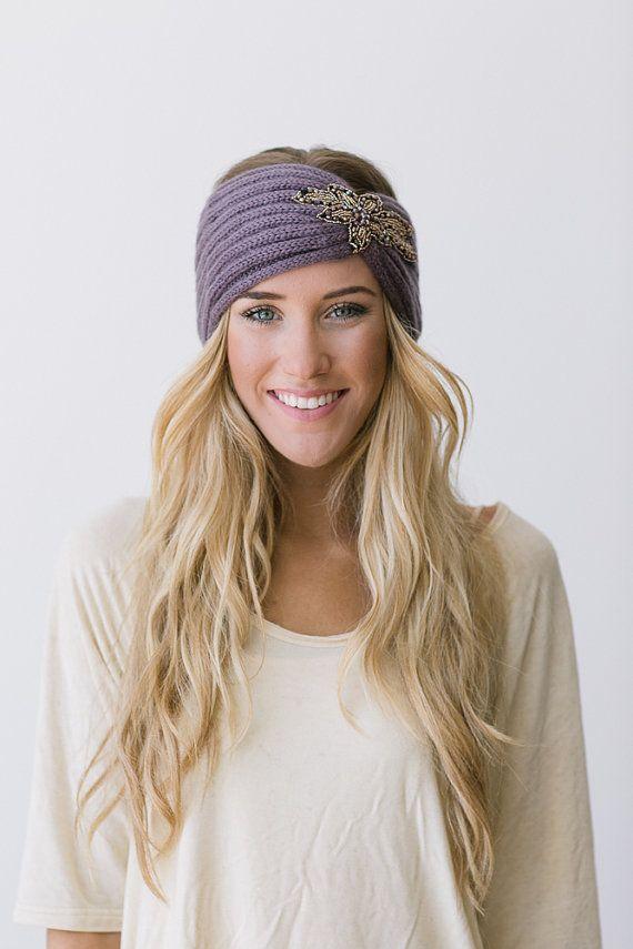 Crystalline Knitted Headband Bohemian Plum Boho Ear Warmer Warm Beaded Head Wrap in Plum on Etsy, $38.00