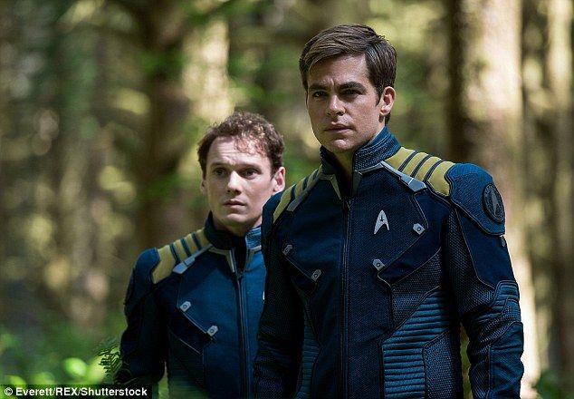 Yelchin stars in Star Trek Beyond as Chekov, seen here with Chris Pine as Captain Kirkk