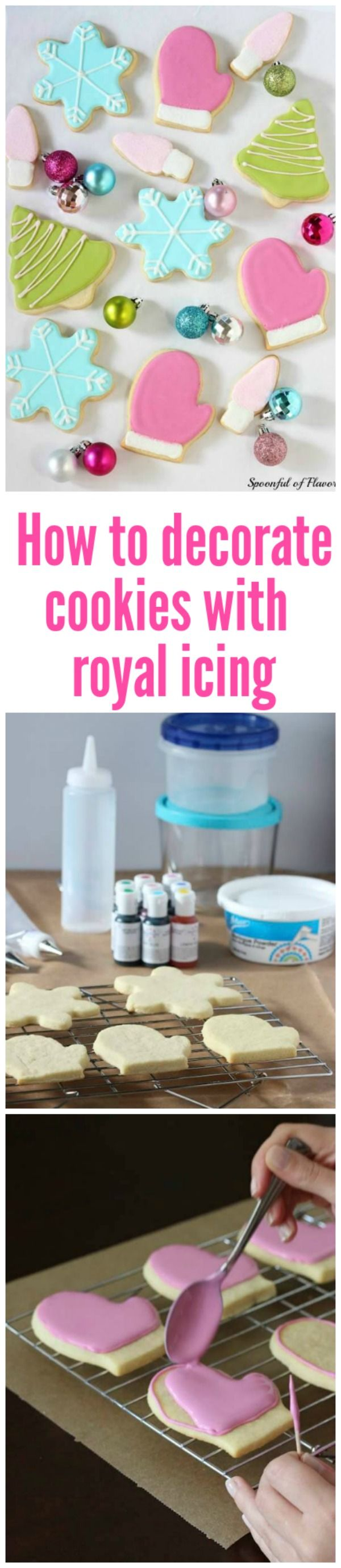 Step by step instructions on how to decorate cookies with royal icing. Following these steps you will be able to make perfectly iced cookies.
