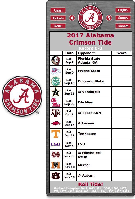 Get your 2017 Alabama Crimson Tide Football Schedule App for Mac OS X - Roll Tide!  - National Champions 2015, 2012, 2011, 2009, 1992, 1979, 1978, 1973, 1965, 1964, 1961, 1941, 1934, 1930, 1926, 1925 http://2thumbzmac.com/teamPages/Alabama_Crimson_Tide.htm