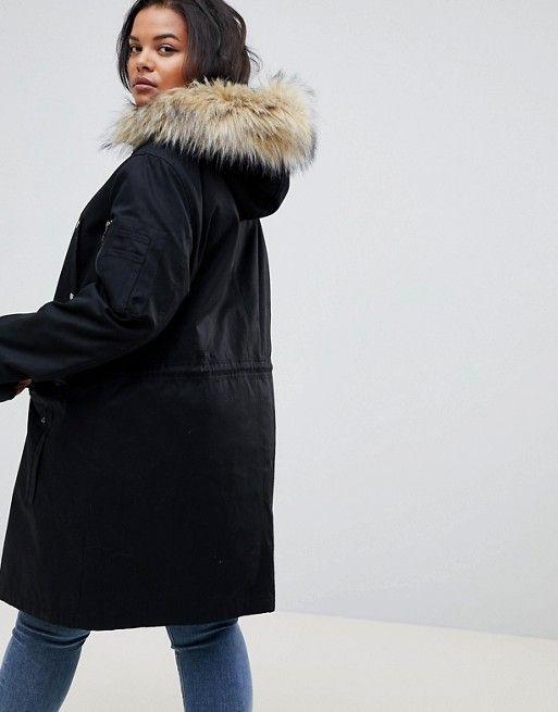 e7d7e1643a81 DESIGN Curve parka with detachable faux fur liner