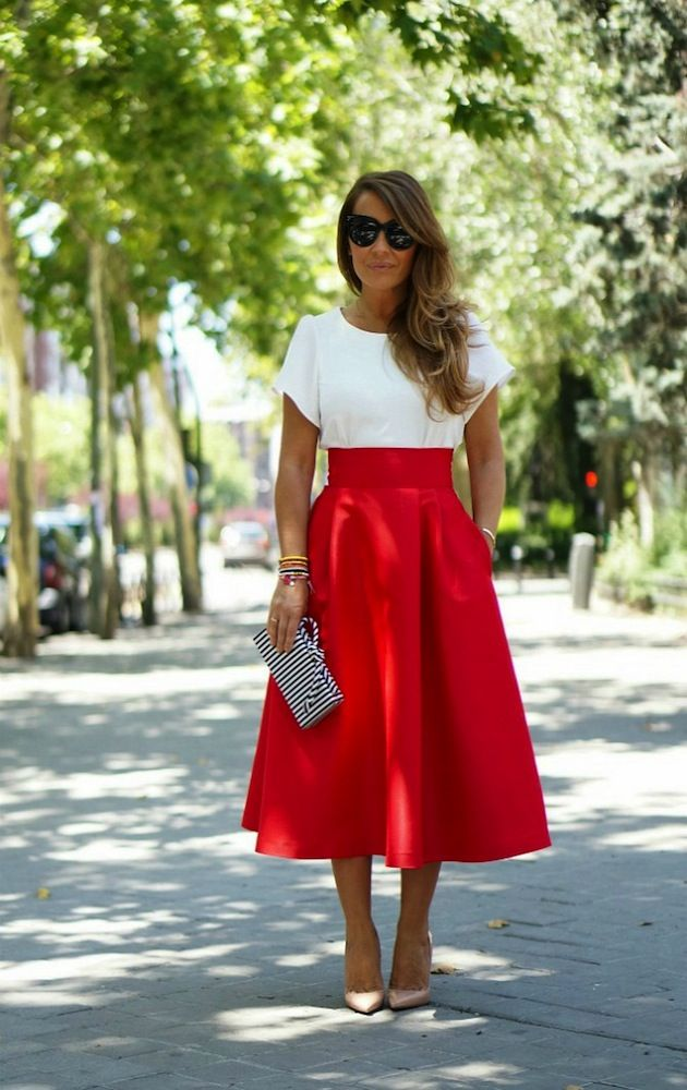 Red midi skirt. love!!