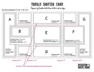 Tri Fold Shutter Card Measurements Folded Cards