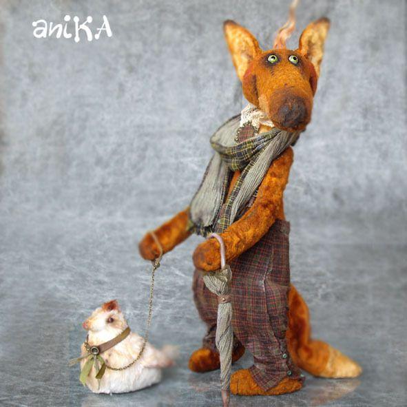 Купить Алессандро и его курица. ХТ 2013 - оранжевый, лис, прогулка, курица, мультяшка, плюш