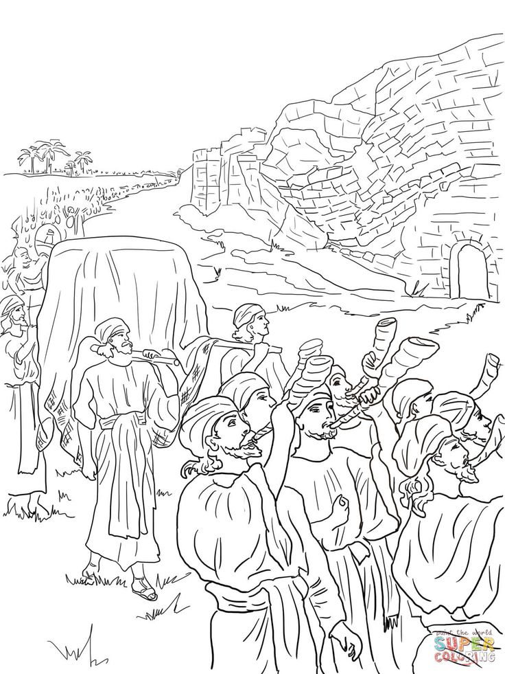 Walls Of Jericho Colo Google S Coloring Page Joshua Crossing The