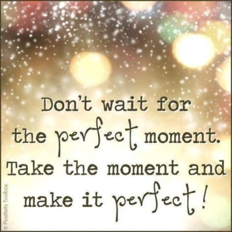 Don't wait for the perfect moment. Take the moment and make it perfect!