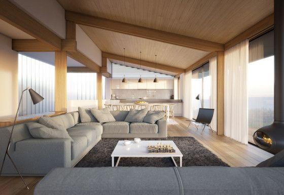 Diseño de  moderna sala con techo inclinado de madera