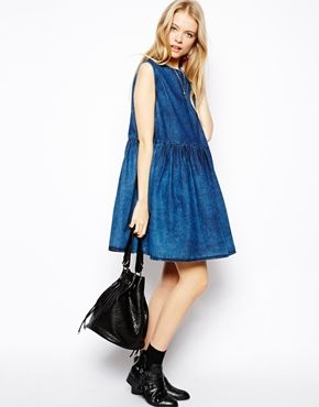 Image 4 of ASOS Sleeveless Denim Smock Dress in Dark Wash