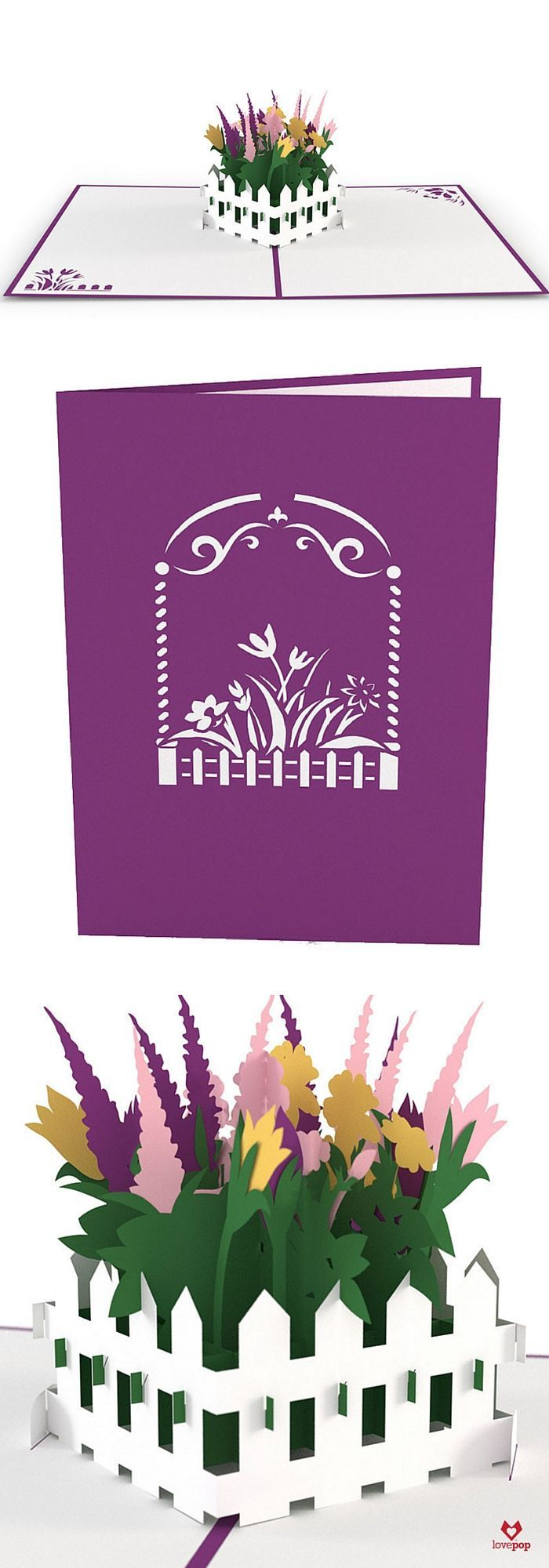 The front of this flower garden card features a purple cover with an archway leading to a flower garden. Open the card to reveal a beautiful fenced garden full of a variety of luscious flowers. More f