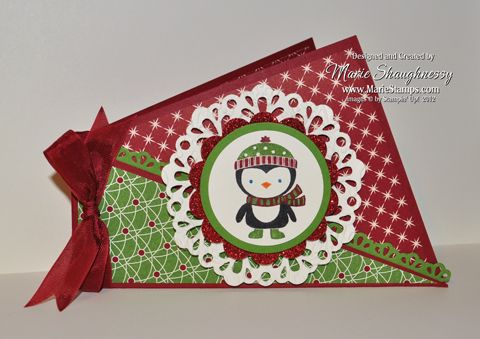 Stamping Inspiration: 25 DAYS OF CHRISTMAS, DAY #16: Twisted Fancy Fold Peeking Penguin Card...