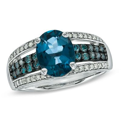 Oval London Blue Topaz and 1/4 CT. T.W. Enhanced Blue and White Diamond Ring in 10K White Gold