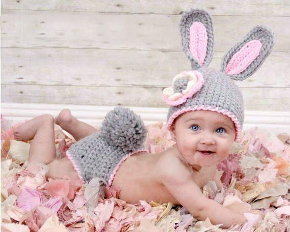 5a114c81981 Newborn baby Bunny Hat Diaper Cover Baby Hat Diaper Cover Newborn  Photography Props costume rabbit hat baby caps