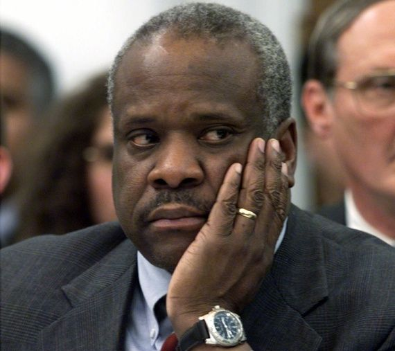 """What Is Clarence Thomas Thinking? — The Atlantic - Thomas, the only African American on the court, was born into poverty in a segregated community, and he knows a few things that most of his gently raised colleagues do not. He calmly interrupted: """"[A]ren't you understating the—the effects of—of the burning cross?  . . .  Now, it's my understanding that we had almost 100 years of lynching and activity in the South. The Knights of Camellia and—and the Ku Klux Klan, and this was a reign of…"""