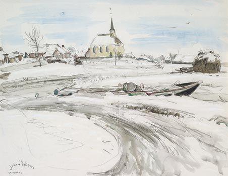 Johan Dijkstra. Ploegschilder. Stitswerd aquarel en krijt.