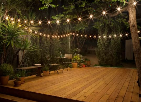 Night set up for a backyard deck