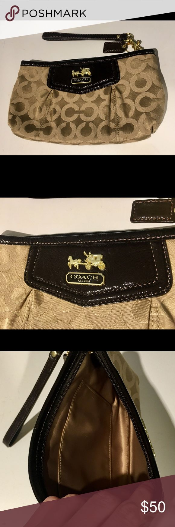 Coach Wristlet Brown patent leather and tan fabric authentic Coach wristlet. Lightly used, in excellent condition. Holds small wallet, phone, keys, lipgloss, etc. Perfect for a night out! Coach Bags Clutches & Wristlets