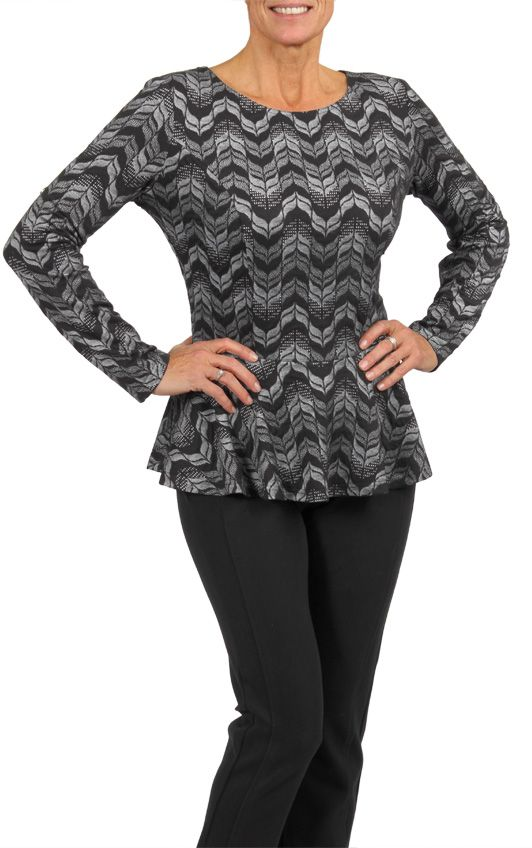 Long sleeve, jacquard knit peplum top- A must have this season! This top is only available in stores. To find a store near you, visit our website www.cartise.com. #grey #peplum #jacquardknit #fallfashion #cartise