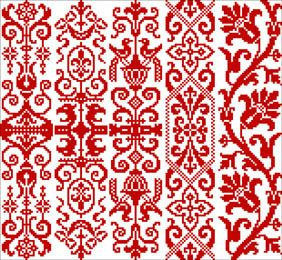 Motifs in Red.  good bookmark patterns