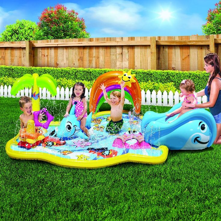 Baby Sprinkles Splish Splash Mat Transform your backyard into the coolest fountain where your toddler will enjoy water sprinkles and a whale slide.