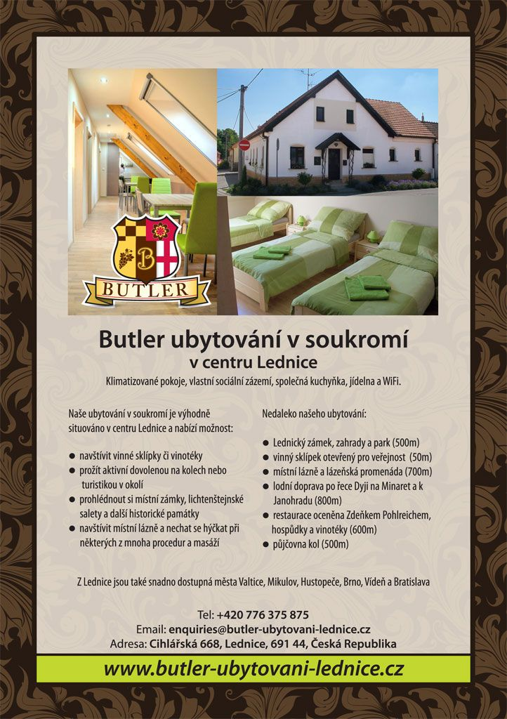 Butler ubytování v soukromí Lednice,jih Moravia