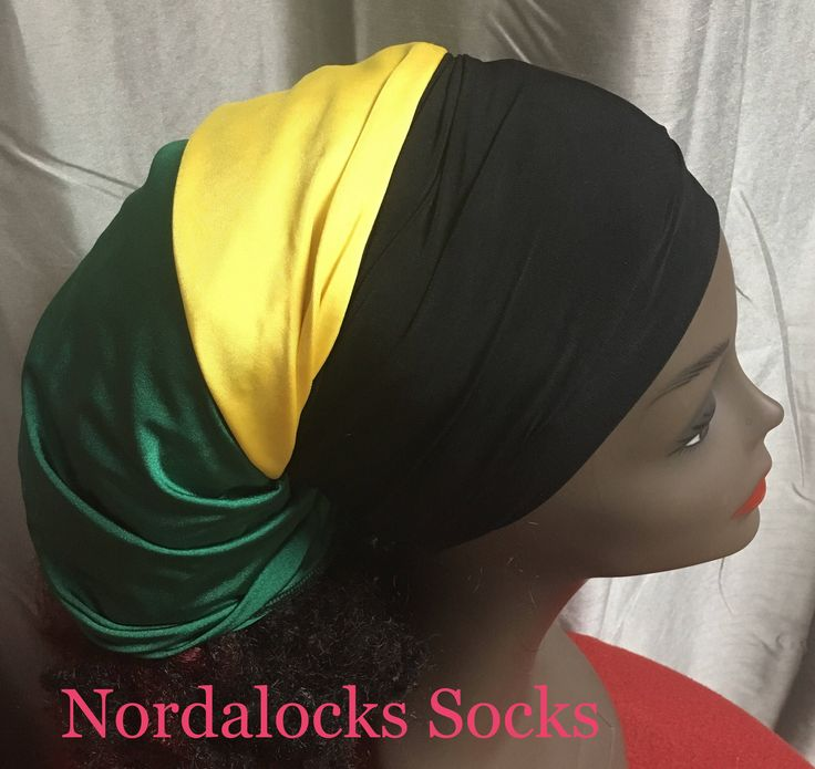 FREE SHIP: Bead Soc, Bob Marley, Luxury Fabric, Slouchy Soc, Jamaican, Rasta wear, Hair Tube , head-wrap, sudsandskinboutique, locs socks – long gown