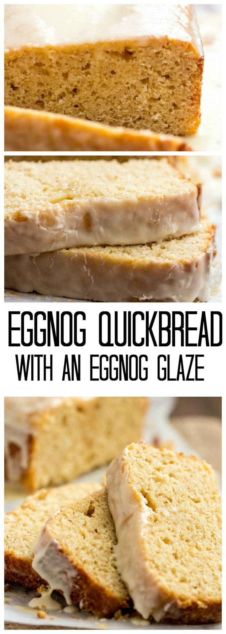 This Eggnog Quickbread is so easy and the most perfectly moist recipe that you will make! The eggnog glaze is perfect on top!...Eggnog Glaze: 1 cup powdered sugar 2-3 Tablespoons eggnog (depending on how thick, thin you want the glaze).