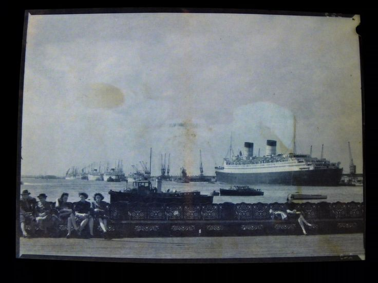 Old negative of Southampton New Docks from The Pier, RMS Queen Elizabeth and two Union Castle Ships