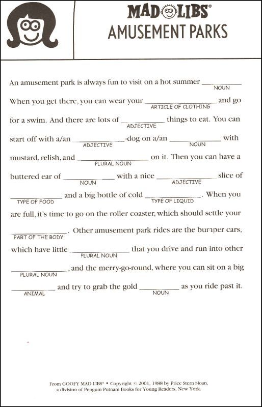 Gratifying image pertaining to summer mad libs printable