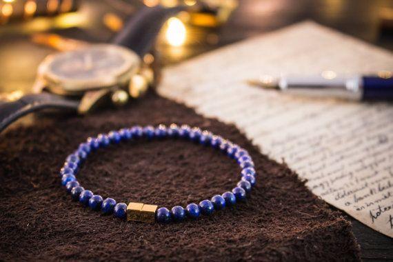 4mm blauen Lapis Lazuli Perlen dehnbar Armband von GAALcollection