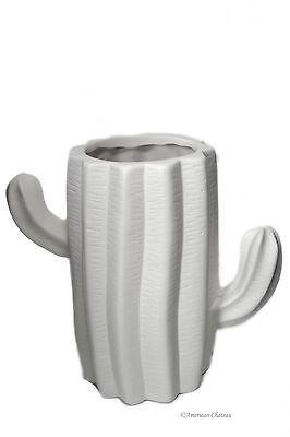 "6.5"" White Cactus Shaped Ceramic Southwestern Decor Vase Planter Flower Pot 886221477742 | eBay"