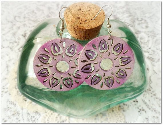 Pink and lavender  circle wooden earrings    by CarmenHandCrafts, €5.00