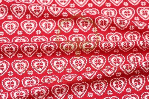 Bawełna serca skandynawskie czerwono-białe / Red & white X-mas scandinavian hearts snowflakes cotton fabric