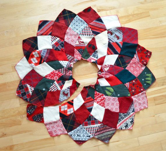 One Of A Kind Handmade Patchwork Wool Sweater Christmas Tree Skirt I Made This From