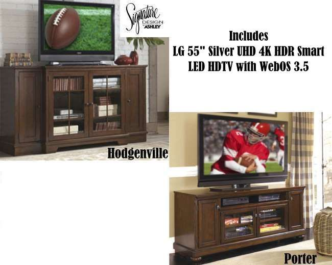 """As little as $62.53 biweekly!  Your Choice Of Either Extra Large Console W/LG 55"""" Silver UHD 4K HDR Smart LED HDTV with WebOS 3.5  #television #design #livingroom #essentials"""