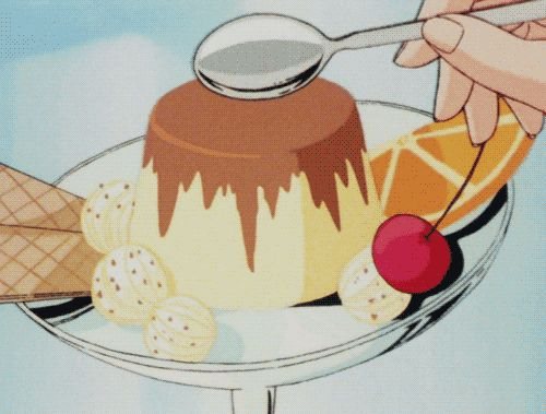 Flan pudding, gif, dessert; Anime Food