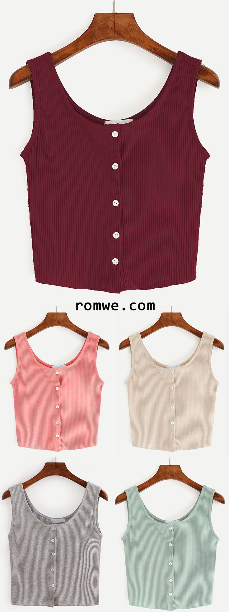 Button Front Ribbed Tank Top