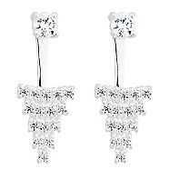 Simply Silver Sterling silver front back cubic zirconia cluster earring   Debenhams