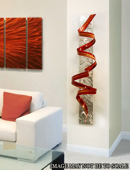 Abstract Metal Wall Art Sculpture / Red Orange Phoenix Twist by Jon Allen