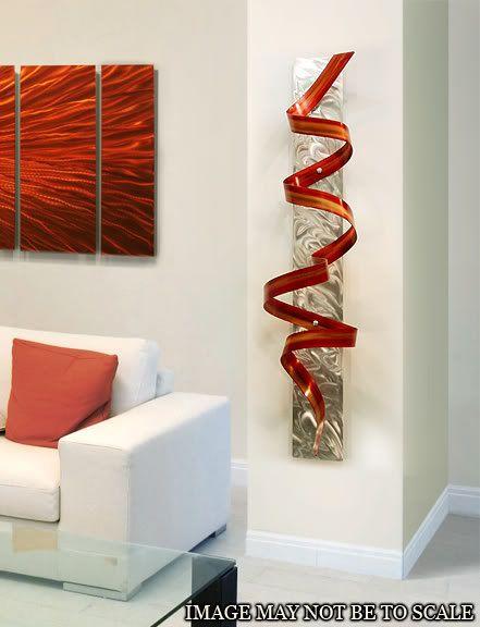 Abstract Metal Wall Art Sculpture / Red Orange Phoenix Twist by Jon Allen