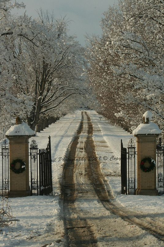 Daly Mansion Gates in Winter, Hamilton, Montana