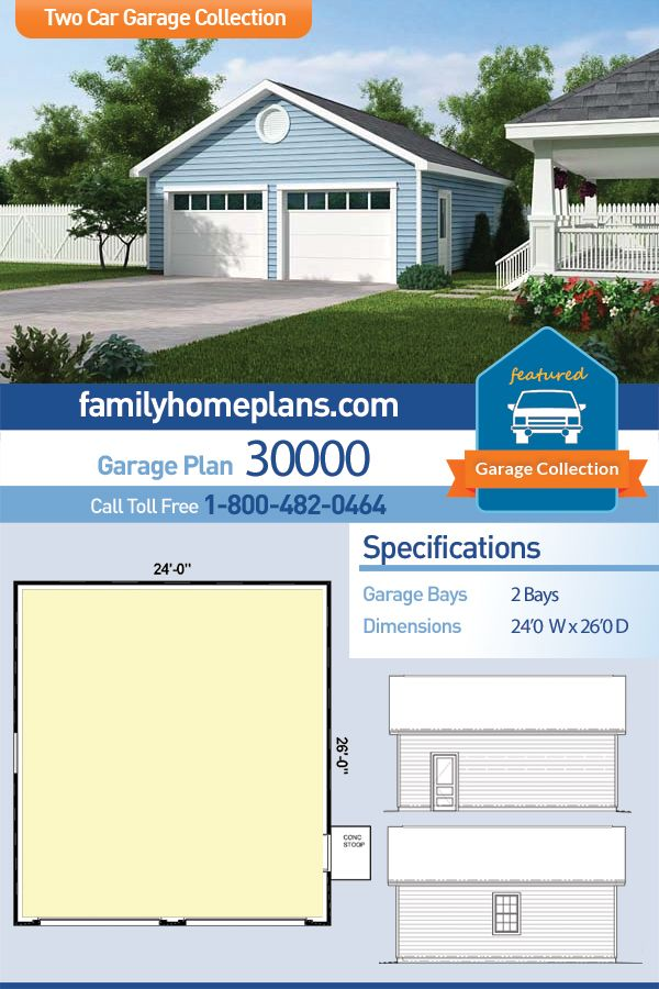 Traditional Style 2 Car Garage Plan Number 30000 Garage Building Plans Garage Plan 2 Car Garage Plans